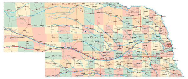 Large administrative map of Nebraska state with roads, highways and major cities.