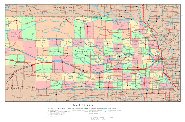 Large detailed administrative map of Nebraska state with roads, highways and all cities.