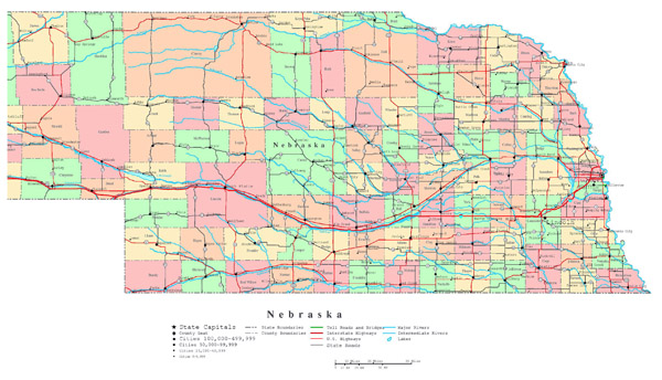 Large detailed administrative map of Nebraska state with roads, highways and major cities.