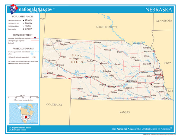 Large detailed map of Nebraska state. Nebraska state large detailed map.