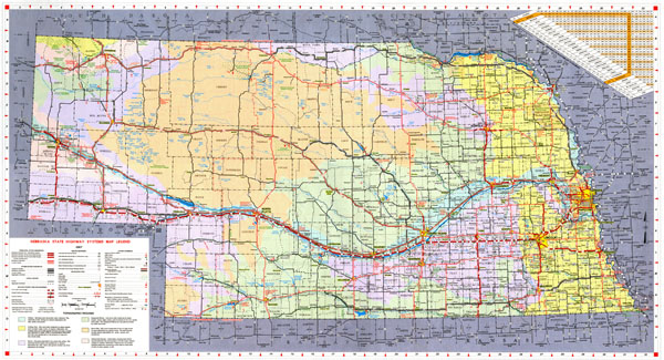 Large detailed Nebraska state highways system map with topographic regions.