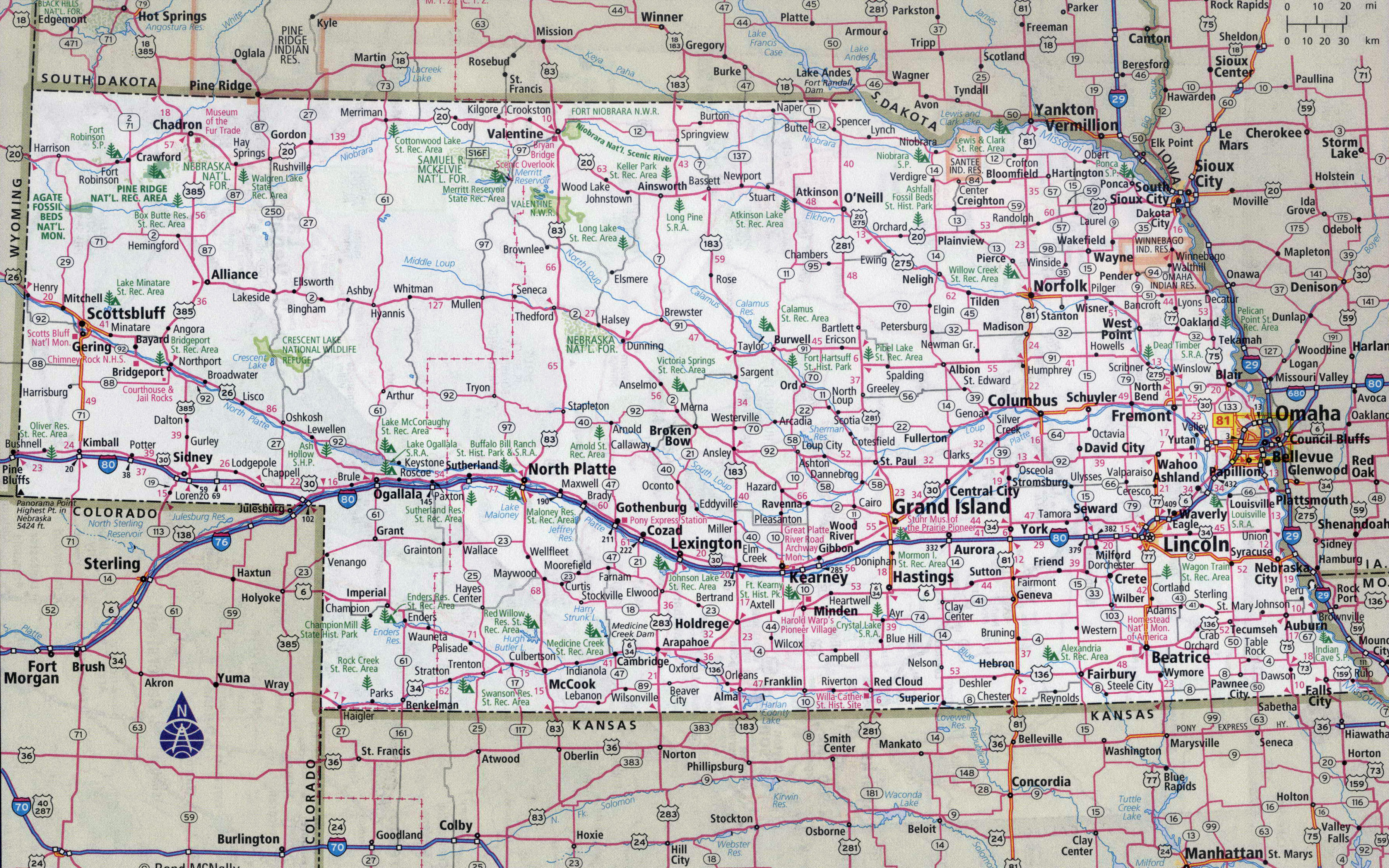 Large detailed roads and highways map of Nebraska state with cities