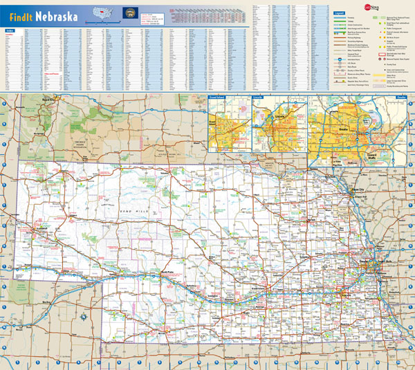 Large detailed roads and highways map of Nebraska state with national parks and all cities.