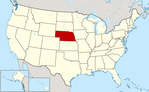 Large location map of Nebraska state.