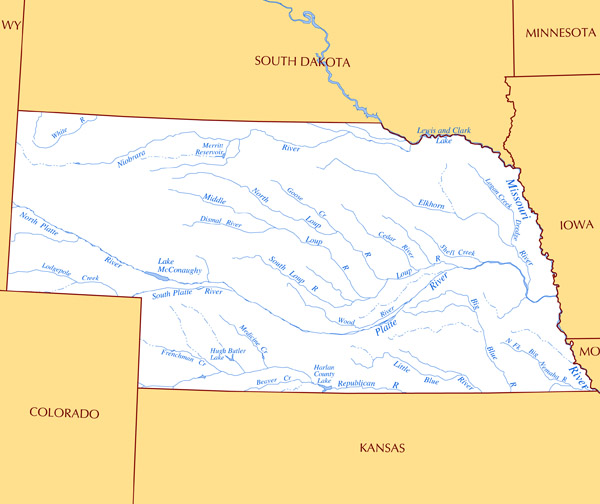 Large rivers and lakes map of Nebraska state.