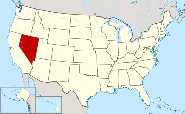 Detailed location map of Nevada state.