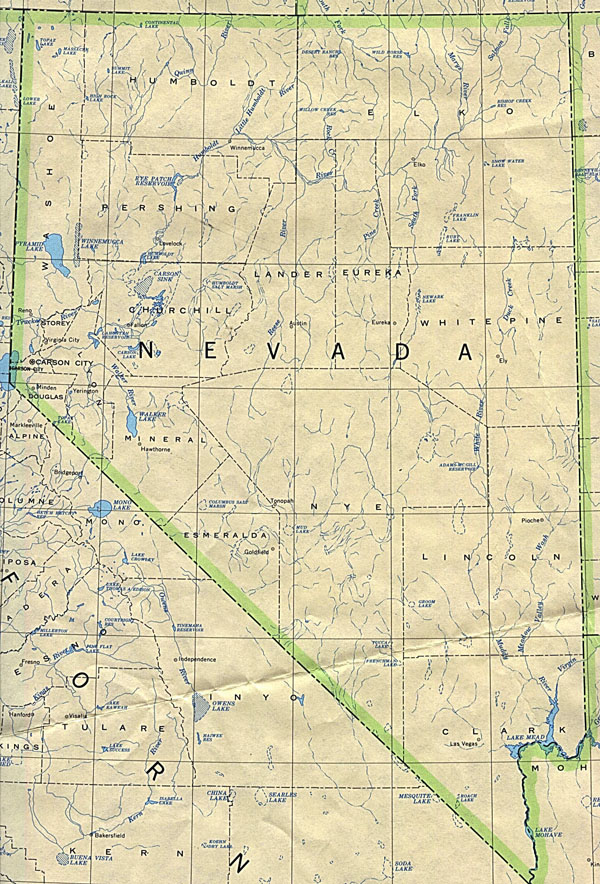 Detailed map of Nevada state. Nevada state detailed map.