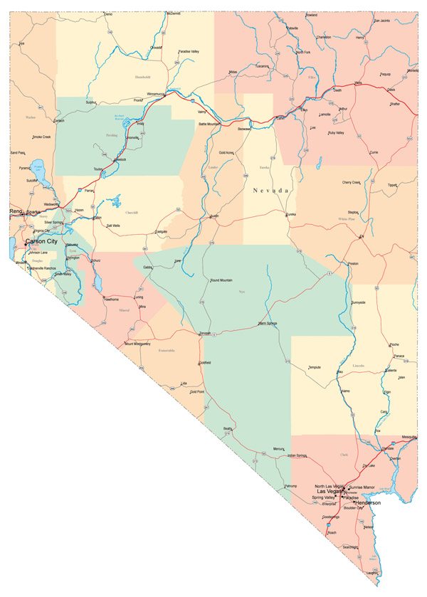 Large administrative map of Nevada state with roads, highways and major cities.