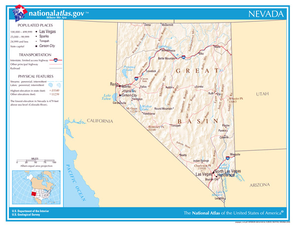 Large detailed map of Nevada state. Nevada state large detailed map.
