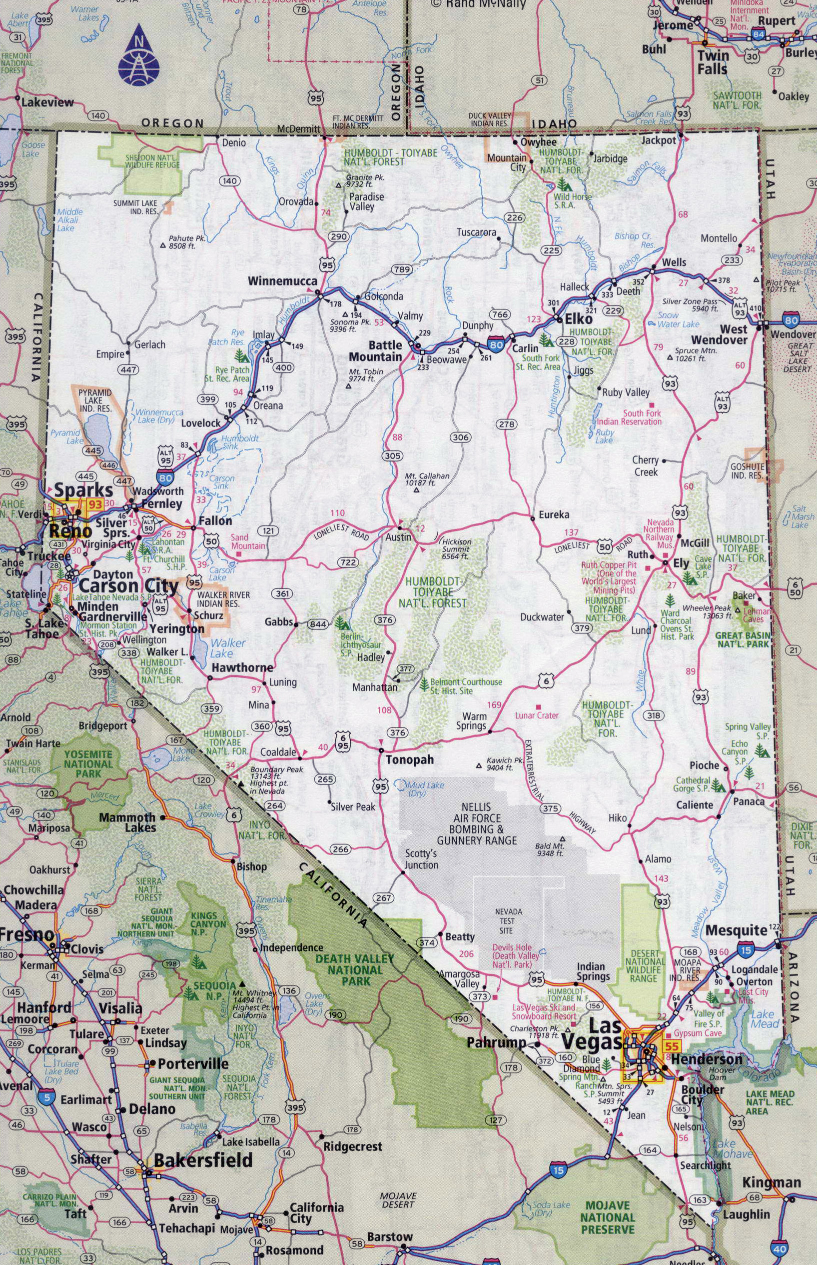 Large detailed roads and highways map of Nevada state with cities