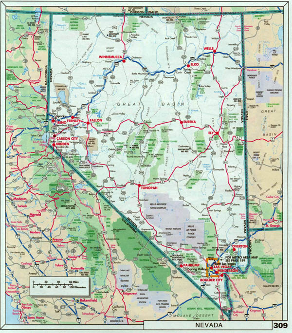Large detailed roads and highways map of Nevada state with national parks.