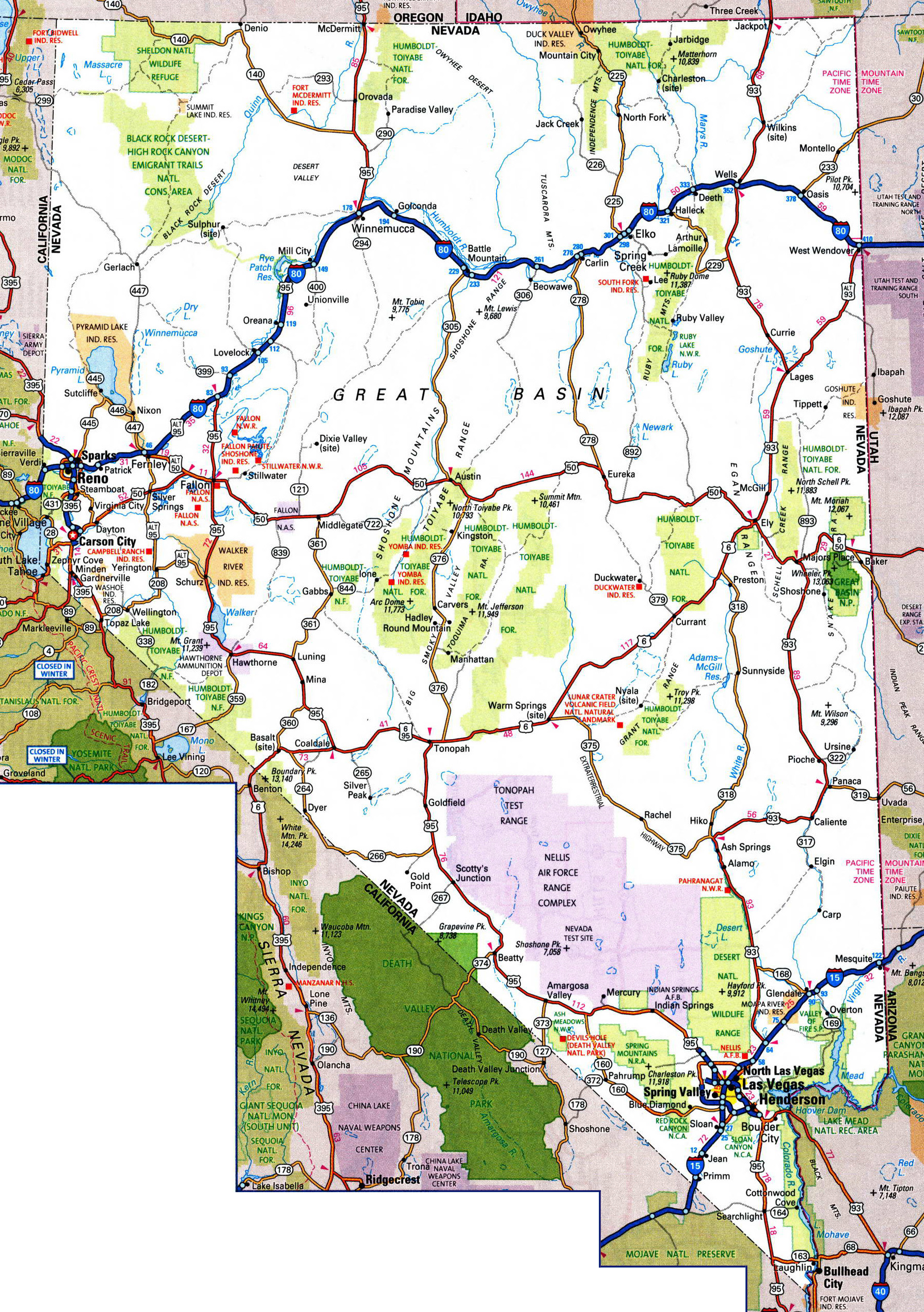 Large Detailed Roads And Highways Map Of Nevada State With National