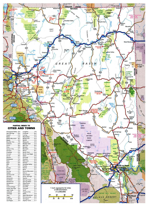 Large roads and highways map of Nevada state with national parks and all cities.