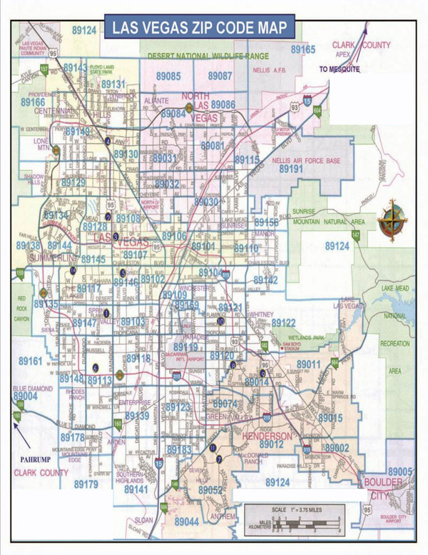 Detailed Las Vegas zip code map.