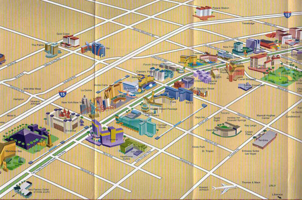 Detailed map of casinos and hotels of Las Vegas city.