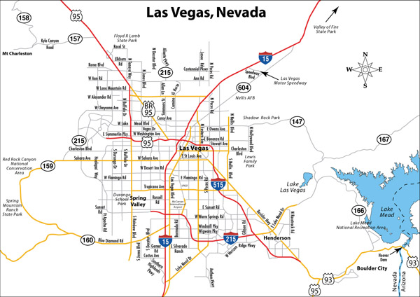 Detailed road map of Las Vegas. Las Vegas city detailed road map.