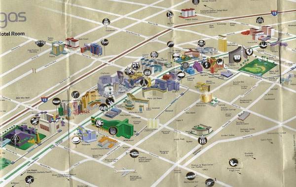 Large detailed Las Vegas downtown map.