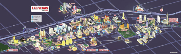 Large detailed Las Vegas city tourist map.