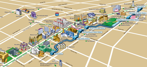Large detailed map of casinos and hotels of Las Vegas city.