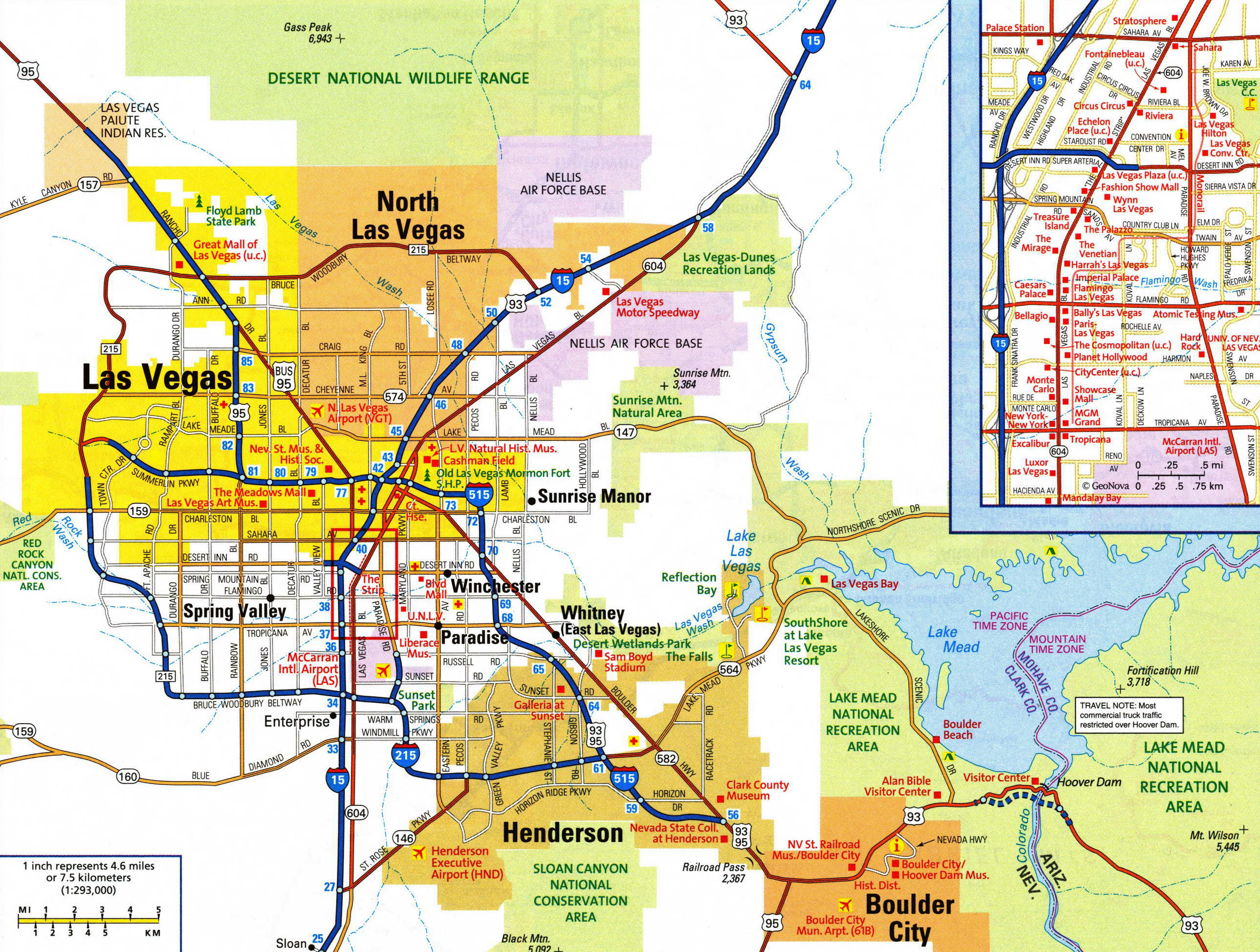 Large detailed road map of Las Vegas city with airports Vidiani