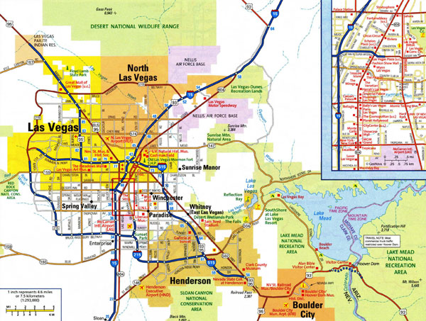 Large detailed road map of Las Vegas city with airports.
