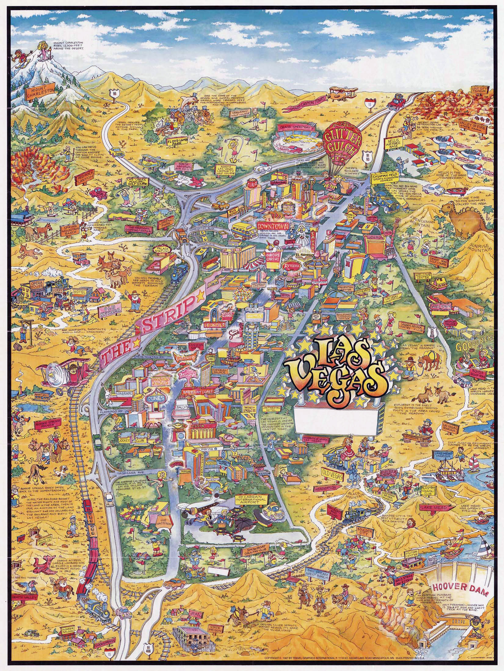 Large detailed tourist illustrated map of Las Vegas – Tourist Map Of Las Vegas