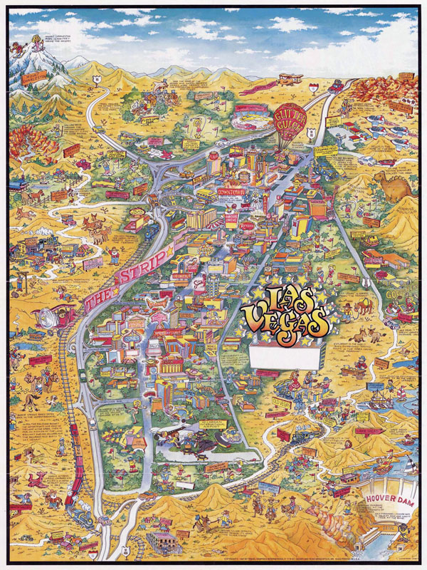 Large detailed tourist illustrated map of Las Vegas.