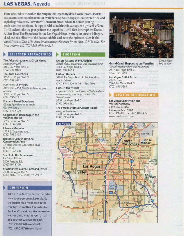 Large infobox of Las Vegas city with road map.