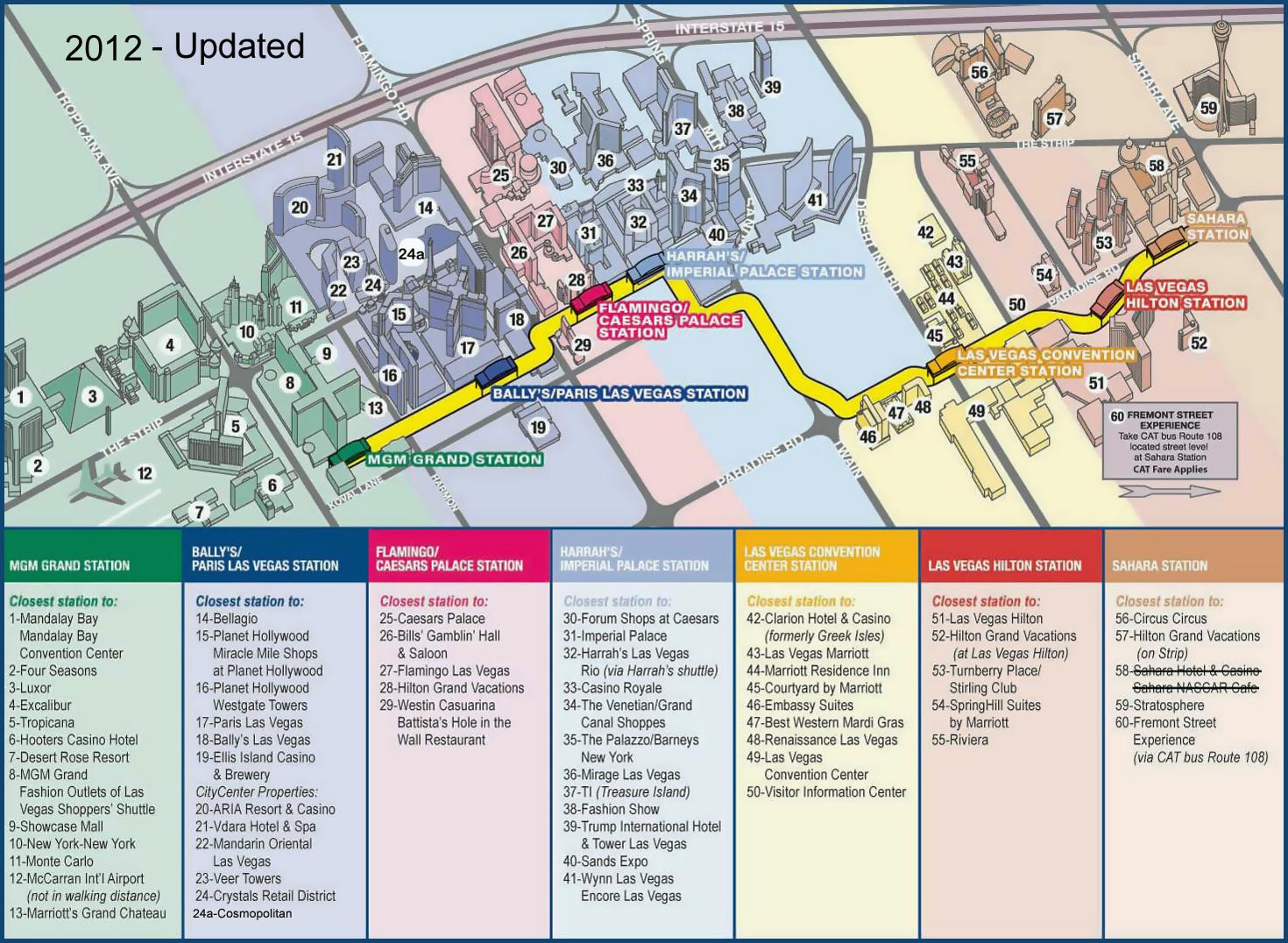 Monorail In Las Vegas Map.Large Las Vegas Strip Map With Monorail 2012 Vidiani Com Maps