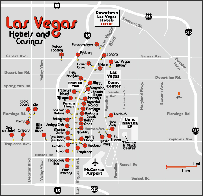 Map of Las Vegas hotels and casinos.