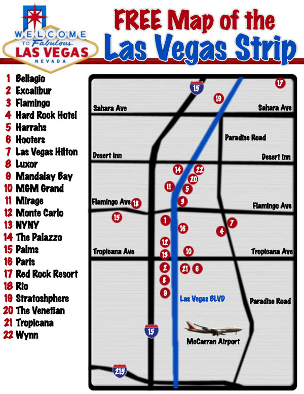 Map of the Las Vegas strip. Las Vegas strip map.
