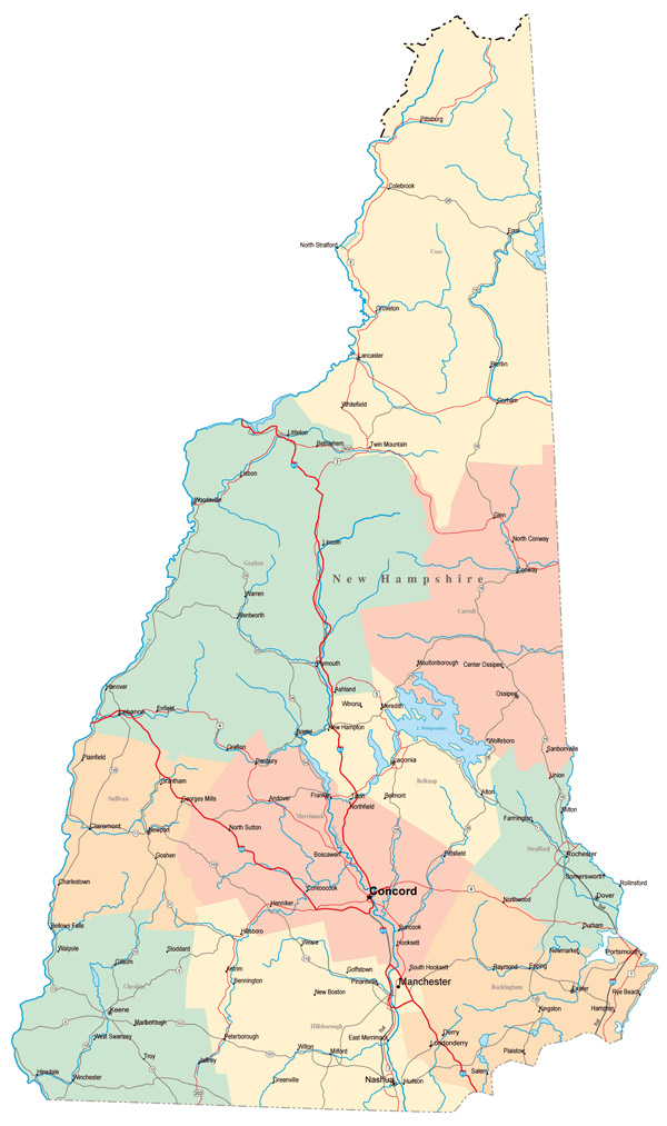 Large administrative map of New Hampshire state with highways, roads and major cities.