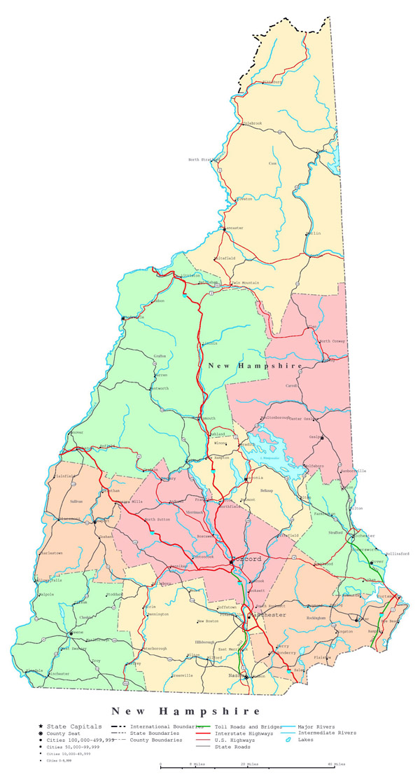 Large detailed administrative map of New Hampshire state with highways, roads and cities.