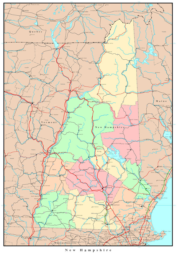 Large detailed administrative map of New Hampshire state with highways, roads and major cities.