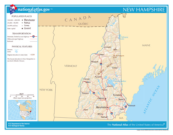 Large detailed map of New Hampshire state. New Hampshire state large detailed map.