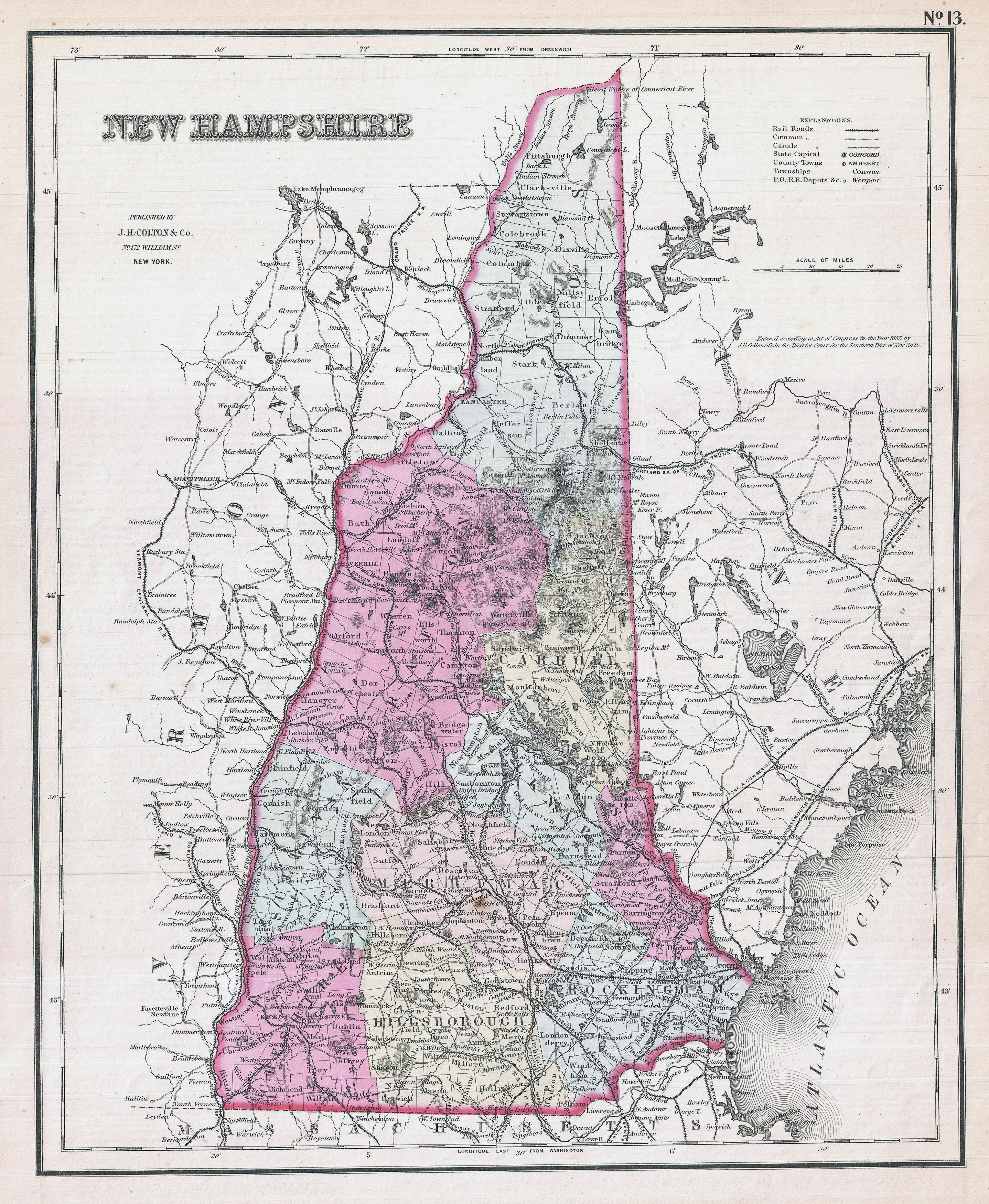 Large detailed old administrative map of New Hampshire state – 1857 ...