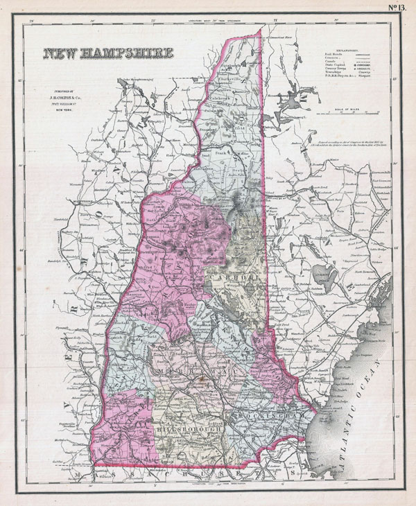 Large detailed old administrative map of New Hampshire state - 1857.