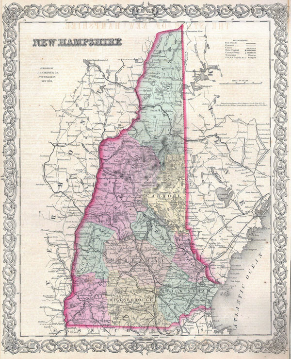 Large detailed old administrative map of New Hampshire state with roads and cities - 1855.