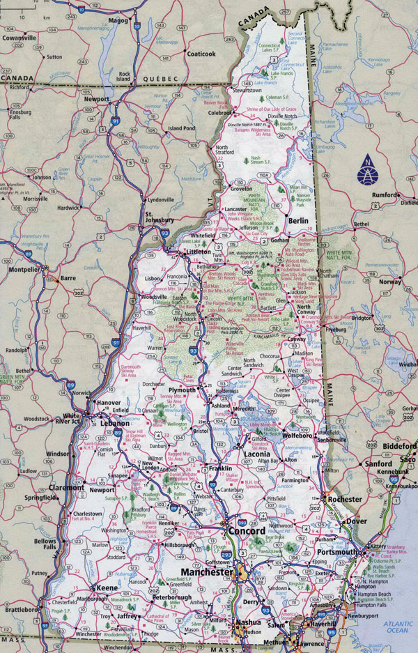 Large Detailed Roads And Highways Map Of New Hampshire