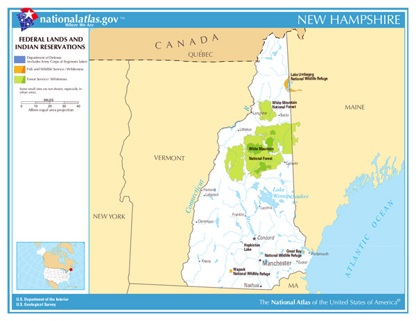 Large Federal Lands and Indian Reservations map of New Hampshire state.