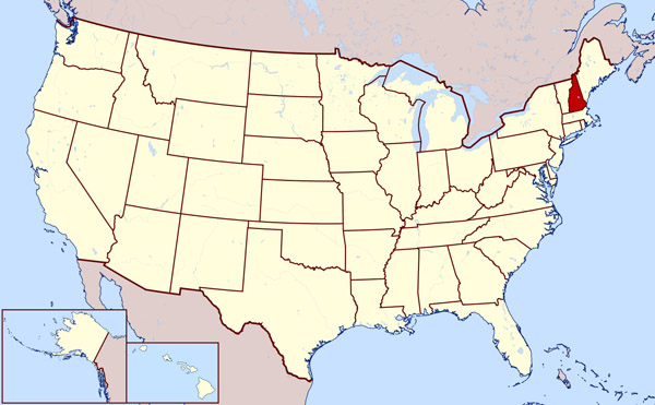 Large location map of New Hampshire state.