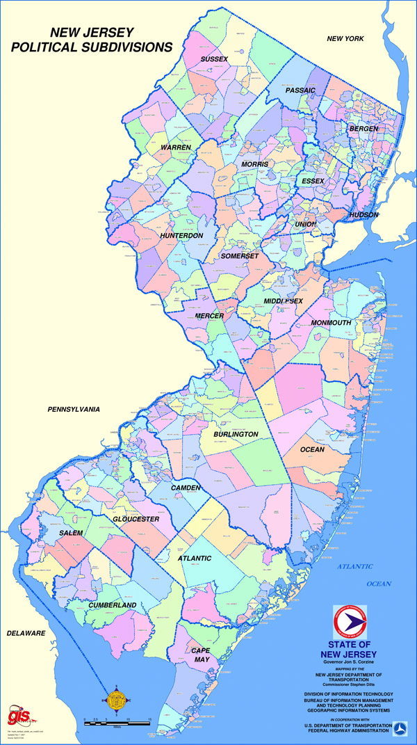 Detailed map of New Jersey state political subdivisions.