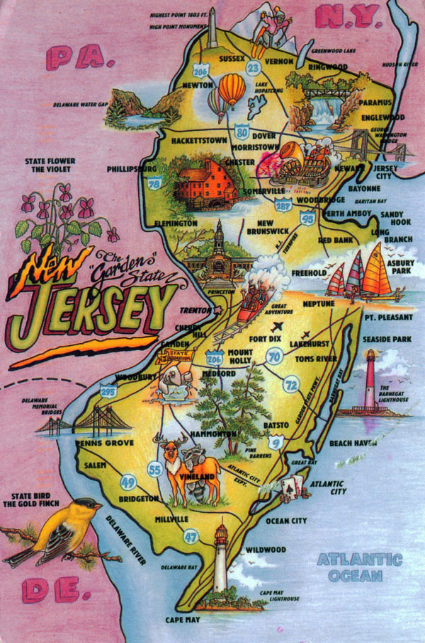 Detailed tourist illustrated map of New Jersey state.