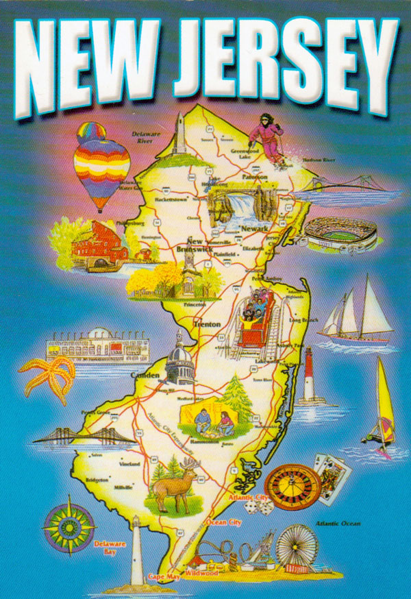 Detailed tourist map of New Jersey state.