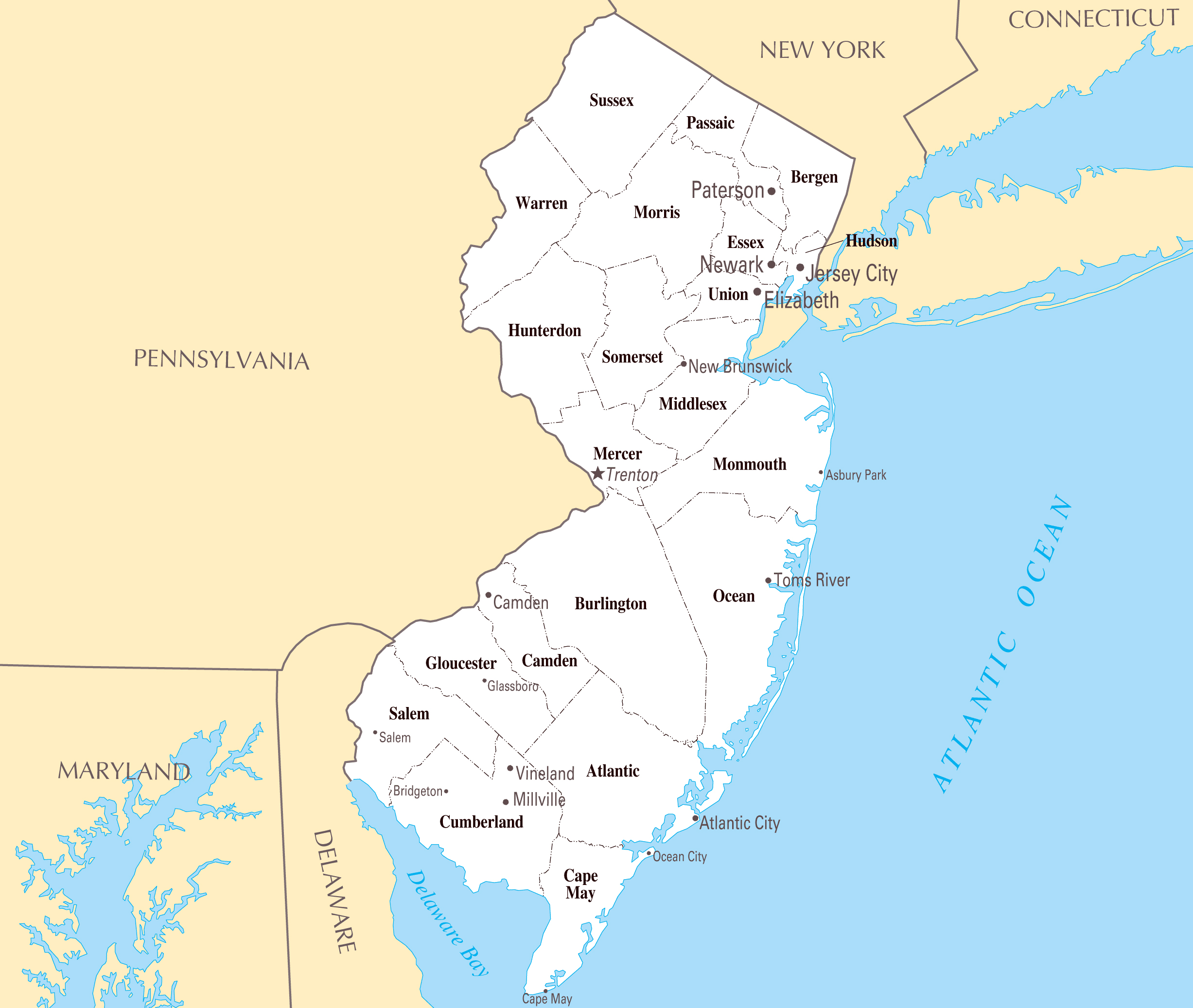 Large administrative map of New Jersey state with major cities ...