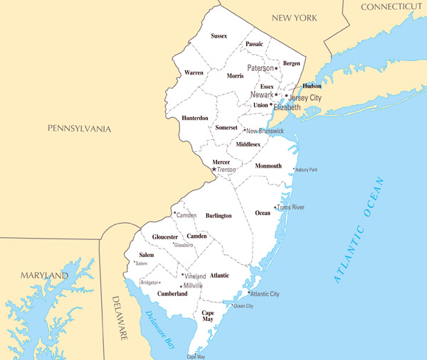 Large Administrative Map Of New Jersey State With Major