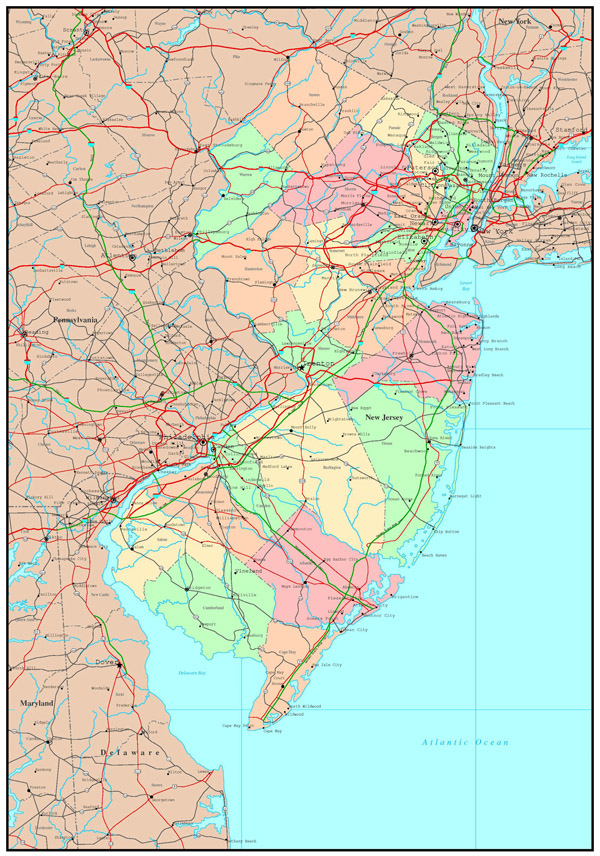 Large detailed administrative map of New Jersey state with highways, roads and major cities.