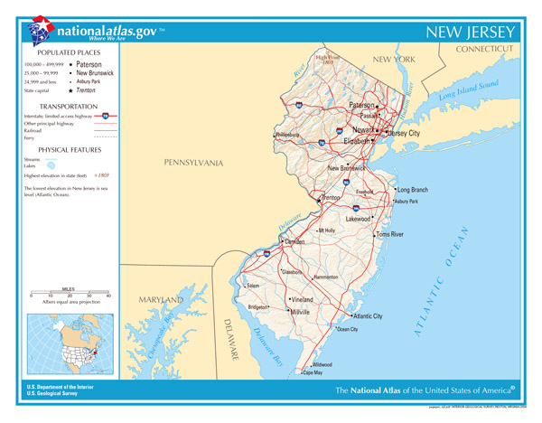 Large detailed map of New Jersey state. New Jersey state large detailed map.