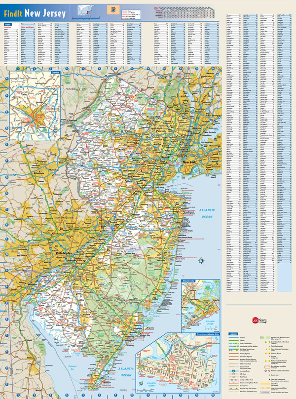 Large detailed roads and highways map of New Jersey state with all cities and towns.