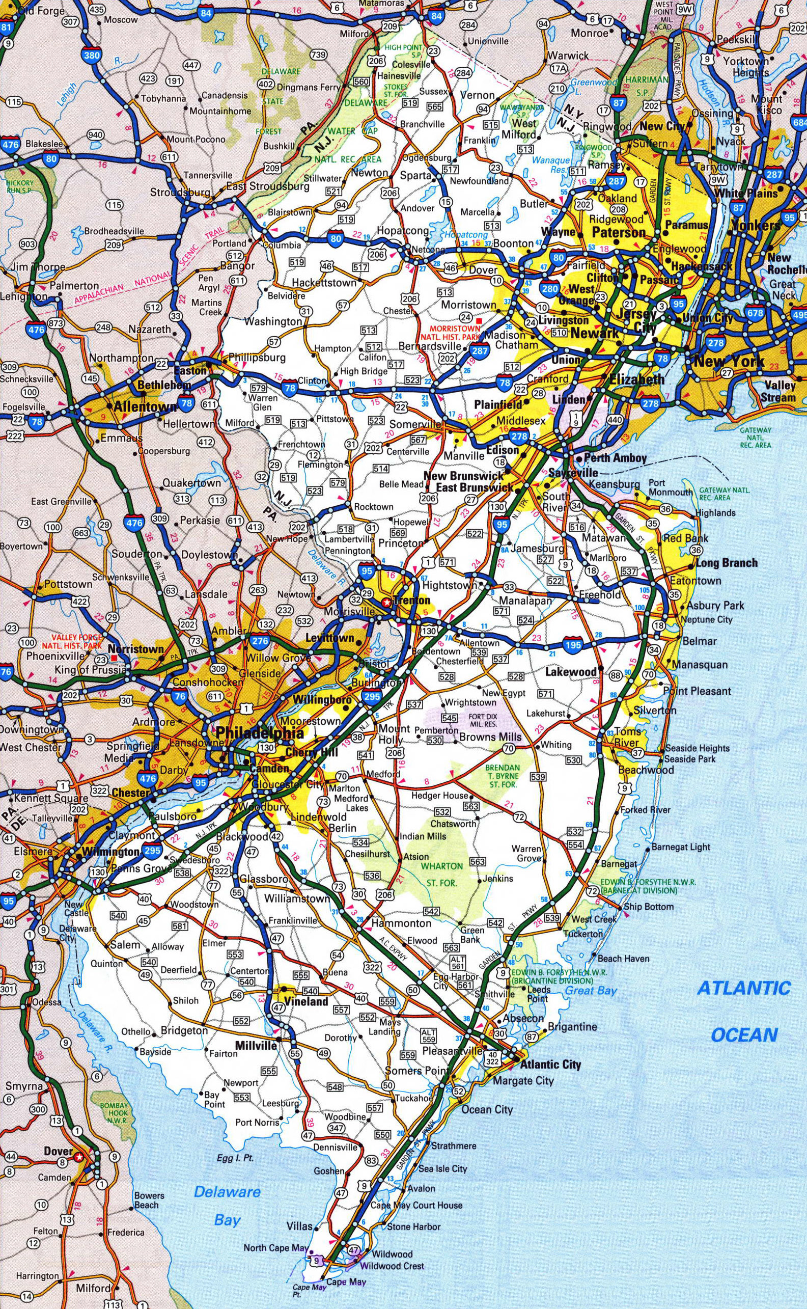 Large detailed roads and highways map of New Jersey state with